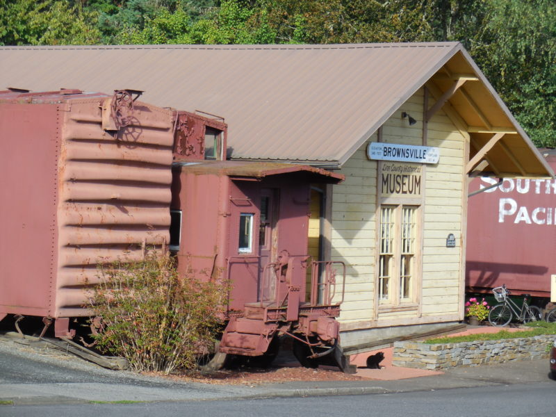 Photo of the Historical museum in Brownsville, OR with a black cat in front of the building