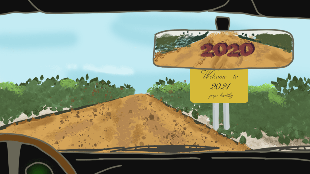 """Een tekening gemaakt op de computer vanuit een auto met zicht op een landweg met een bord langs de weg """"Welcome to 2021"""", en 2020 nog zichtbaar in de achteruitkijkspiegel."""